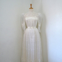 SALE Vintage 1950s Lace Wedding Dress White Prom Ball Bridal Gown
