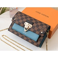LV Hot Ladies Full Print Colour Ladies Single Shoulder Bag Shopping Bag Lake blue