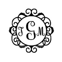 Circle Monogram Decal / Custom Vinyl Monogram Decal / Vine Monogram / Monogram / Fancy Monogram / Monogram Car Decal