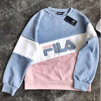 FILA New Popular Women Casual Joining Together Letter Embroidery Long Sleeve Round Collar Sweater Top Sweatshirt Blue