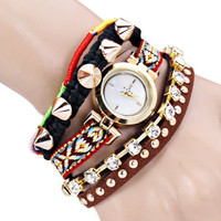 Rivet Rhinestone Statement Bracelet Watch