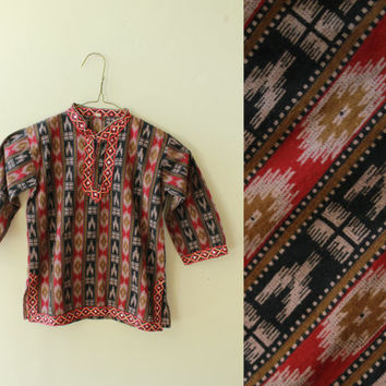 Vintage - Indian - Mirrored - Red Ethnic Ikat - Kids - Childrens - Tunic - Top - Shirt - Boys - Girls - Hippie - Boho - 2T/3T