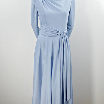 Vintage Evening Gown, Elegant Light Blue 70s Long Sleeve Maxi Dress, Flowing Floor Length Polyester Gown With Draping Tie Belt Size L