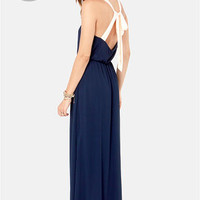LULUS Exclusive Slit to be Tied Navy Blue Maxi Dress