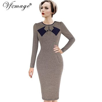 Vfemage Womens Elegant 1950s Vintage Pinup Retro Rockabilly Patchwork Long Sleeve Work Party Sheath Bodycon Wiggle Dress 8167