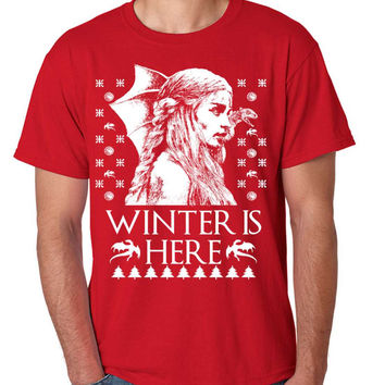 Men's T Shirt Winter Is Here Ugly Christmas Sweater Khalessi Gift