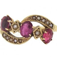 Antique Victorian Spinel and Seed Pearl Ring in 14K #62104