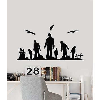Vinyl Wall Decal Zombie Cemetery Crosses Grave Corpse Death Horror Stickers Mural (g1094)