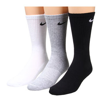 Nike Cotton Cushion Crew with Moisture Management 3-Pair Pack Grey Heather/Black/White/Black/Black/White - Zappos.com Free Shipping BOTH Ways