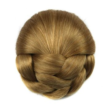Soowee 6 Colors High Temperature Fiber Synthetic Hair Braided Chignon Blonde Clip In Hair Bun Women Donut Roller Hairpieces