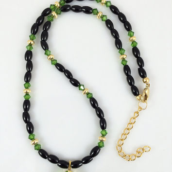 Faceted Dark Green Quartz Pendant Necklace with Green Swarovski Crystals, Black Onyx and Gold Plated Beads -- Product N044