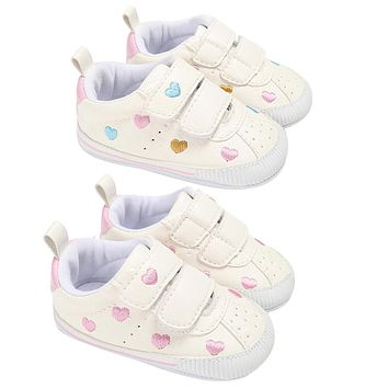 New Baby Fashion Soft Non-slop Shoes Toddler Baby Artifial Leather Heart Shape Pattern Rubber First Walker Shoes Girl Boy Shoes