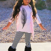PINK FEATHER FRINGE OUTFIT