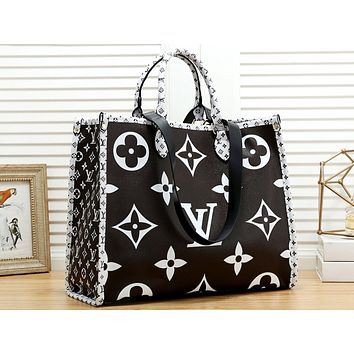 LV tide brand female models full printed old flower handbag shopping bag shoulder bag Black