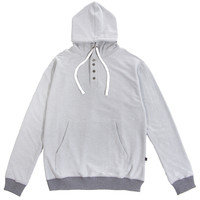 Reverse French Terry Henley Hoodie Grey