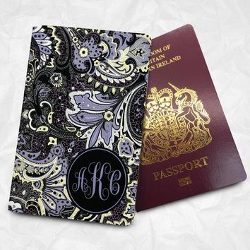 Floral pattern Passport Cover Passport Holder with FREE Name Printing (BBS008)