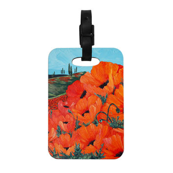 "Christen Treat ""Poppies"" Decorative Luggage Tag"