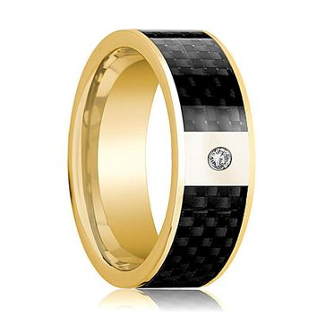 Mens Wedding Band 14K Yellow Gold and Diamond with Black Carbon Fiber Inlay Flat Polished Design