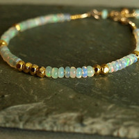 Ethiopian Opal Bracelet, natural Welo smooth fire opals, gold vermeil beads, 14K goldfilled, fire opal jewelry, real genuine opal birthstone