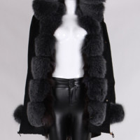 Karley Gray Fur Trimmed Fur Lining Black Parka Coat
