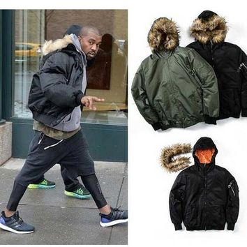 Kanye West Jackets Coats Men Fur Collar Thick Warm Winter Ma1 Bomber Jackets Men Hip Hop Bombers Men Coats M Xl