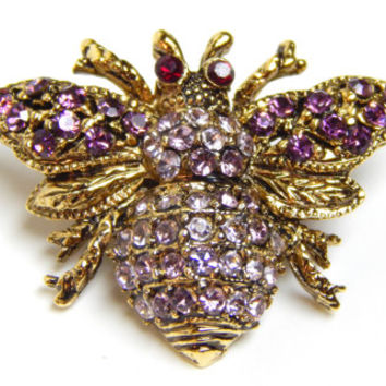Gold Bee Pin Bumble Bee Brooch Purple Amethyst Colored Rhinestone