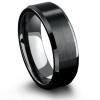 8mm Mens Black Tungsten Wedding Ring With Matte Center