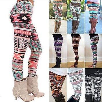 ONETOW winter warm new Xmas Snowflake Reindeer New Arrival Women Printed Leggings Knitted Fashion Skinny Leggins Pants Women