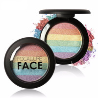 DIY Rainbow Highlighter Face Brightener Bronzer Contour Kits Shimmer Glow Kit Powder Highlighter Rainbow Makeup