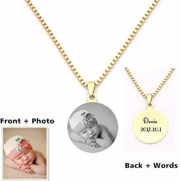 Personalized Engraved Photo Pendants Custom Necklace Photo of Your Baby Child Mom Dad Loved One Gift Can Drop Shipping