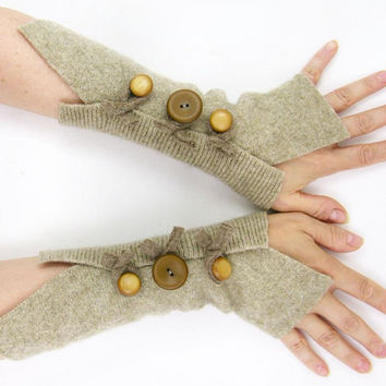 Sand Felted wool fingerless gloves recycled wool beige arm warmers fingerless mittens eco friendly neutral fall fashion tagt team