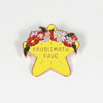 "Problematic Fave Enamel Pin - 1.5"" Cute Enamel Pin with Rubber Butterfly Pinback"