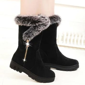 Winter boots for women warm shoes fashion cow suede plush fur wedges mid calf boots ladies shoes plus size 36-41