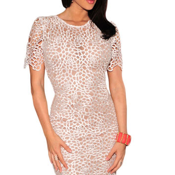 White Embroidered Lace Nude Illusion Bodycon Dress