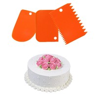Facemile 3PCS Plastic Cake Decorating Pastry Tools Spatulas Fondant Scraper Cake Scraper Cutter Cake Smoother Kitchen Tool