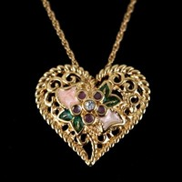 "Avon I Love You Heart Necklace Broach Pin Combo Enamel 19"" Chain Vintage"