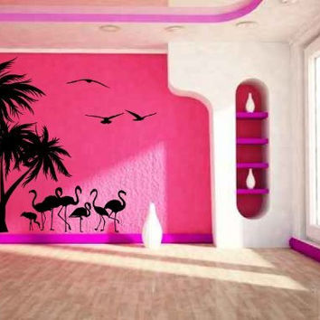 Tropical Palm Trees Flamingos and Sea Gulls Vinyl Wall Decal Sticker Graphic