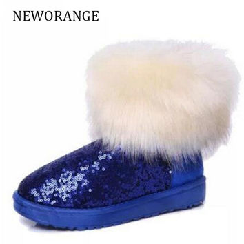 COVOYYAR High Quality Fake Fox Fur Women Ankle Snow Boots Fashion Glitter Moccasin Winter Warm Cotton Shoes Size 40 WBS300