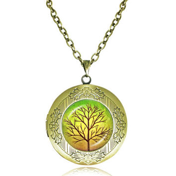 TREE OF LIFE Pendant Bodhi Tree locket Necklace Yin Yang Yoga Tree Jewelry Meditation Jewelry Zen Necklaces tree Reflection 3