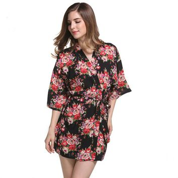 FLORAL COTTON KIMONO ROBE IN BLACK