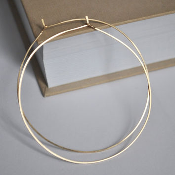 Delicate Gold Hoop Earrings 2 Inch Elegant Thin Filled Hoops Lightweight Jewelry For