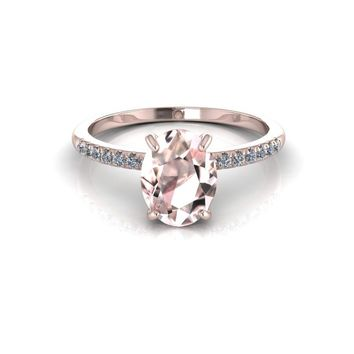 14K Rose Gold Oval Morganite Diamond Engagement Ring