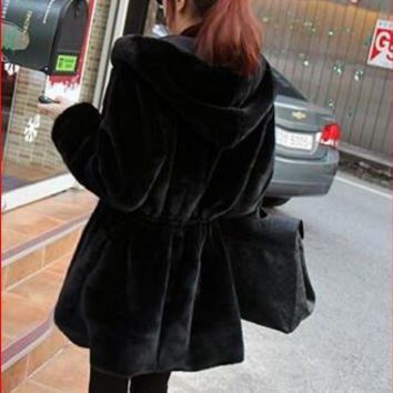 Winter Leather both sides long-sleeved jacket hooded Faux coat thick plush coat jacket women coat