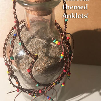 Brown cord color small beaded anklets adjustable knot rasta rainbow boho hippie dainty ankle bracelets