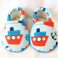 Little Piggies Baby Shoes- ON SALE: Nautical Ship and Anchor Baby Boy Shoes