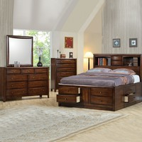 5 pc hillary warm brown finish wood queen storage bedroom set