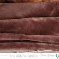 "Cotton Velvet. Brown Velvet Fabric. Organic cotton fabric by the Yard. Plush cotton fabric. Washed Velvet. Cocoa Pod. 47"" wide."