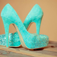 CUSTOM LISTING for Lauran Smith, Tiffany blue wedding shoes, swarovski bridal pumps