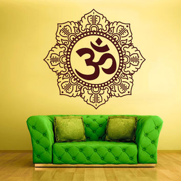 rvz1365 Wall Decal Vinyl Sticker Decals Hindu Om Symbol Buddha Indian Word
