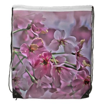 pink peach blossom drawstring backpack